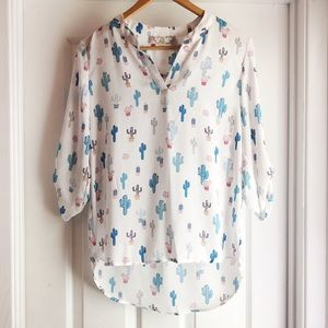 Pink Rose Cactus Print Blouse in White